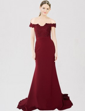 Cheap Burgundy Gold Sweep Train Floor Length Long Stretch Crepe & Lace Dawn Bridesmaid Dress Montreal