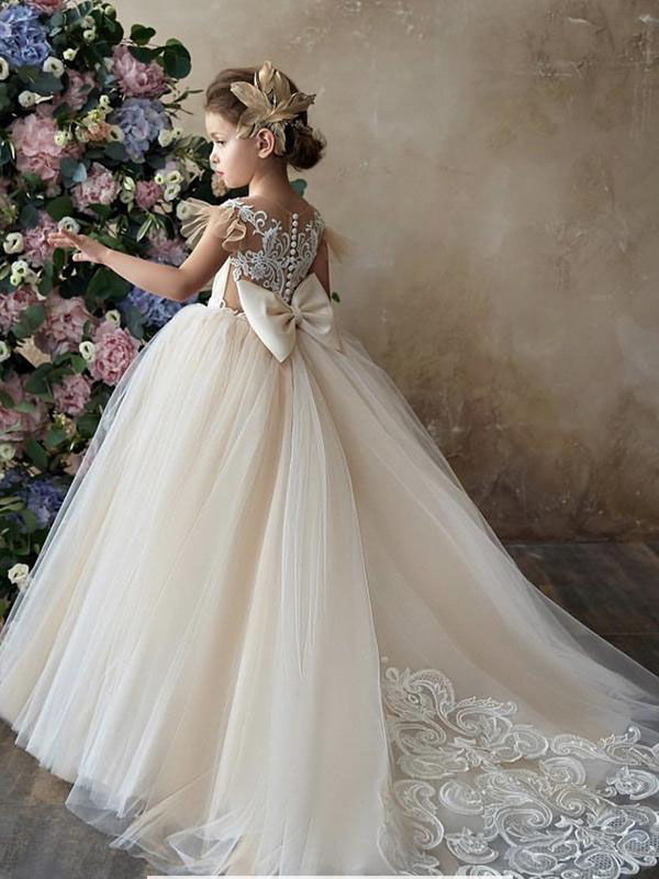Cheap Champagne Chapel Train Long Lace & Tulle Flower Girl Dress Montreal
