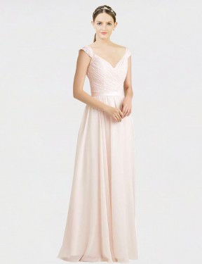 Cheap Cream Pink Floor Length Long Chiffon & Lace Arely Bridesmaid Dress Montreal
