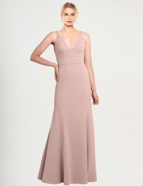 Cheap Dusty Pink Floor Length Long Stretch Crepe Caliste Bridesmaid Dress Montreal