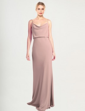 Cheap Dusty Pink Floor Length Long Stretch Crepe Castro Bridesmaid Dress Montreal