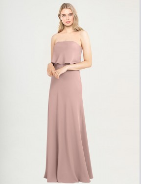 Cheap Dusty Pink Floor Length Long Stretch Crepe Colon Bridesmaid Dress Montreal
