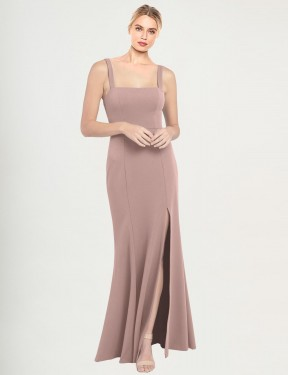 Cheap Dusty Pink Floor Length Long Stretch Crepe Fernella Bridesmaid Dress Montreal