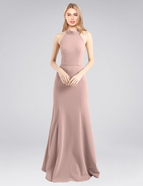 Cheap Dusty Pink Floor Length Long Stretch Crepe Glover Bridesmaid Dress Montreal
