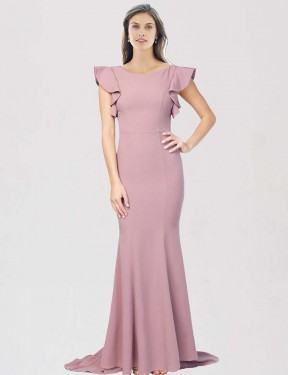 Cheap Dusty Pink Sweep Train Floor Length Long Stretch Crepe Eden Bridesmaid Dress Montreal