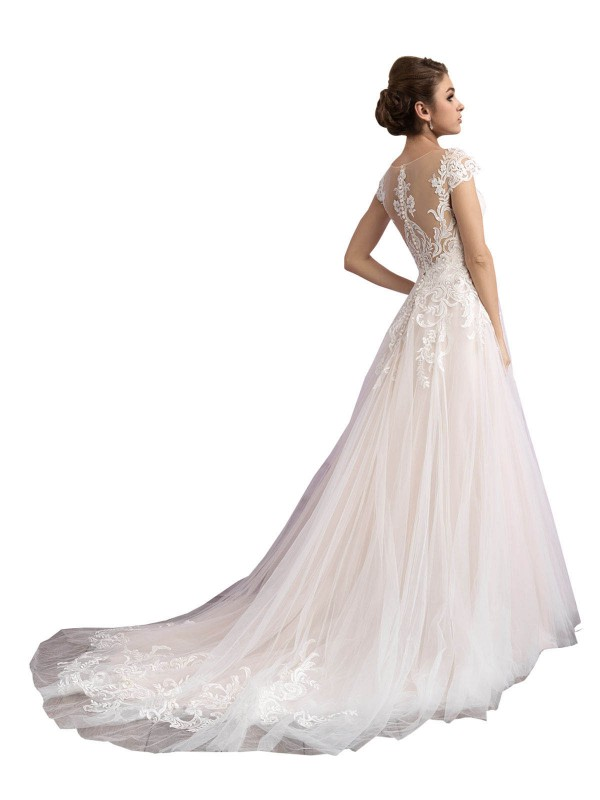 Cheap Ivory & Champagne Cathedral Train Long Tulle Mariana Wedding Dress Montreal