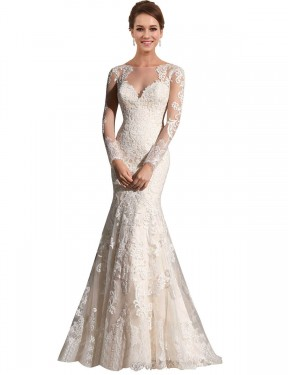Cheap Ivory & Champagne Chapel Train Long Lace & Tulle Aliyah Wedding Dress Montreal