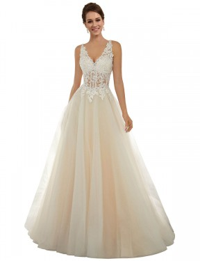 Cheap Ivory & Champagne Chapel Train Long Lace & Tulle Amy Wedding Dress Montreal