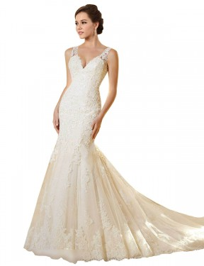 Cheap Ivory & Champagne Chapel Train Long Lace & Tulle Emerson Wedding Dress Montreal