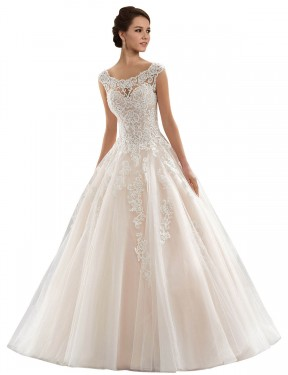 Cheap Ivory & Champagne Chapel Train Long Lace & Tulle Laila Wedding Dress Montreal