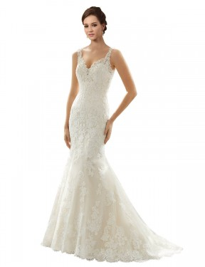 Cheap Ivory & Champagne Chapel Train Long Lace & Tulle Paige Wedding Dress Montreal