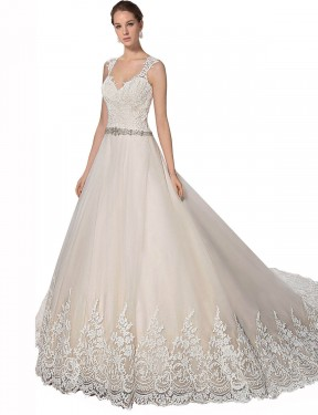 Cheap Ivory & Champagne Chapel Train Long Tulle & Lace Ember Wedding Dress Montreal