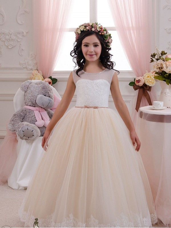 Cheap Ivory & Champagne Floor Length Long Lace & Tulle Flower Girl Dress Montreal