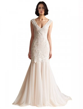 Cheap Ivory & Champagne Sweep Train Long Tulle Gabriela Wedding Dress Montreal
