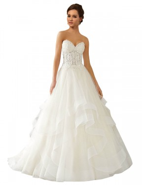 Cheap Ivory Chapel Train Long Lace & Satin & Tulle Reese Wedding Dress Montreal