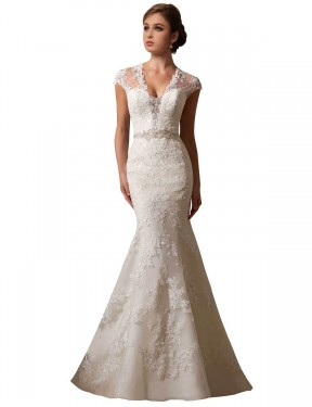 Cheap Ivory Chapel Train Long Lace & Tulle Charlie Wedding Dress Montreal