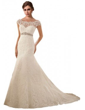 Cheap Ivory Chapel Train Long Lace & Tulle Finley Wedding Dress Montreal