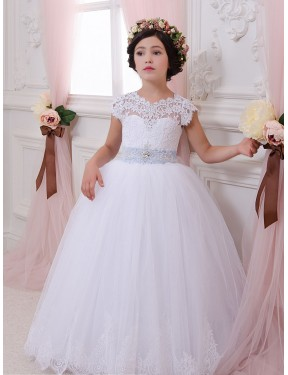 Cheap Ivory Chapel Train Long Lace & Tulle Flower Girl Dress Montreal