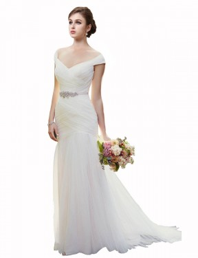 Cheap Ivory Chapel Train Long Tulle Blakely Wedding Dress Montreal