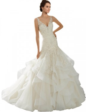 Cheap Ivory Chapel Train Long Tulle Lucia Wedding Dress Montreal