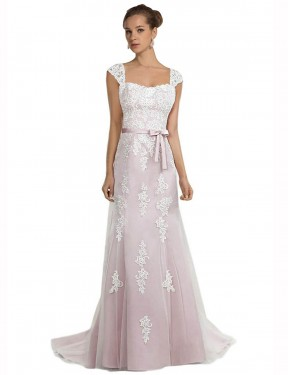 Cheap Ivory & Pink Sweep Train Long Tulle & Lace Logan Wedding Dress Montreal