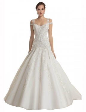 Cheap Ivory Sweep Train Long Lace & Tulle Miriam Wedding Dress Montreal