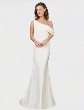 Cheap Ivory Sweep Train Long Stretch Crepe Cantrell Bridesmaid Dress Montreal