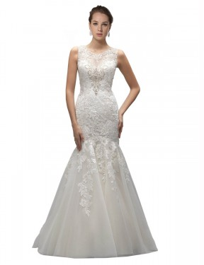 Cheap Ivory Sweep Train Long Tulle Gabrielle Wedding Dress Montreal