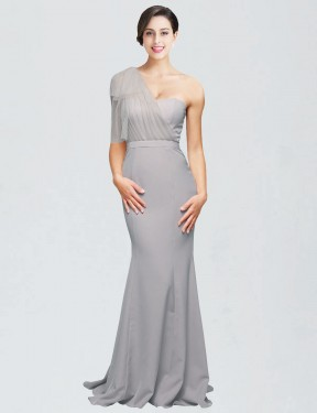 Cheap Oyster Silver Sweep Train Floor Length Long Stretch Crepe Dominic Bridesmaid Dress Montreal