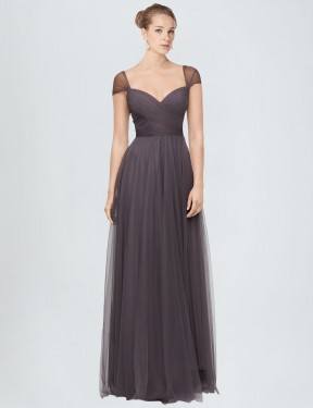 Cheap Pewter Floor Length Long Tulle Alena Bridesmaid Dress Montreal