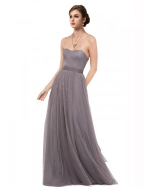 Cheap Pewter Floor Length Long Tulle Emmy Bridesmaid Dress Montreal