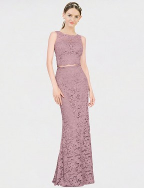 Cheap Pink Floor Length Long Lace Calliope Bridesmaid Dress Montreal