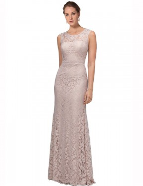 Cheap Pink Floor Length Long Lace Emberly Bridesmaid Dress Montreal