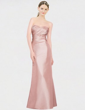 Cheap Pink Floor Length Long Stretch Satin Whitney Bridesmaid Dress Montreal