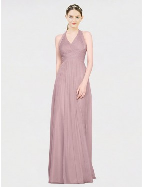 Cheap Pink Floor Length Long Tulle Corinne Bridesmaid Dress Montreal