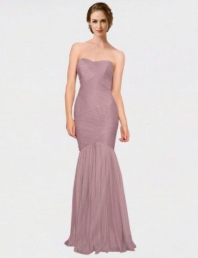 Cheap Pink Floor Length Long Tulle Erica Bridesmaid Dress Montreal