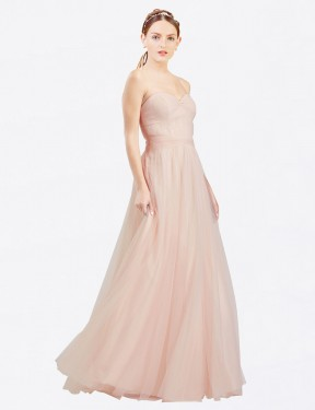 Cheap Pink Floor Length Long Tulle Layla Bridesmaid Dress Montreal