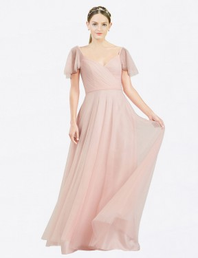 Cheap Pink Floor Length Long Tulle Riley Bridesmaid Dress Montreal