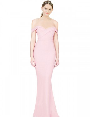 Cheap Pink High Low Long Stretch Crepe Ayad Bridesmaid Dress Montreal