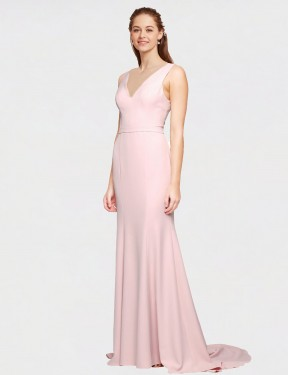 Cheap Pink Sweep Train Floor Length Long Stretch Crepe Polly Bridesmaid Dress Montreal