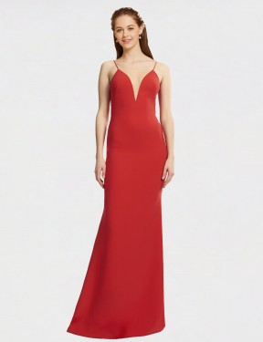 Cheap Red Floor Length Long Stretch Crepe Kristeen Bridesmaid Dress Montreal