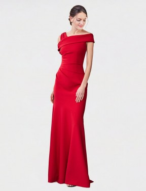 Cheap Red Floor Length Long Stretch Crepe Nicola Bridesmaid Dress Montreal