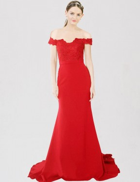 Cheap Red Sweep Train Floor Length Long Stretch Crepe & Lace Dawn Bridesmaid Dress Montreal