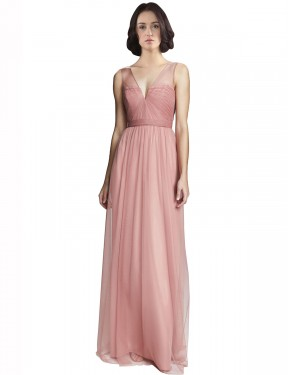 Cheap Rose Pink Floor Length Long Tulle Rayna Bridesmaid Dress Montreal