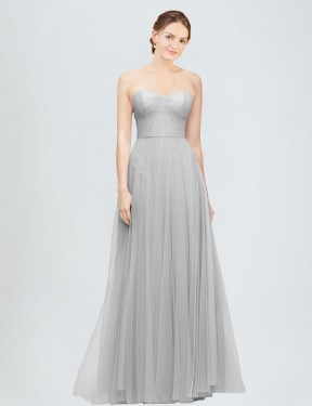 Cheap Silver Floor Length Long Tulle Emory Bridesmaid Dress Montreal
