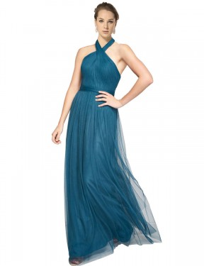 Cheap Teal Green Floor Length Long Tulle Madeline Bridesmaid Dress Montreal