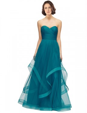 Cheap Turquoise Floor Length Long Tulle Lacey Bridesmaid Dress Montreal