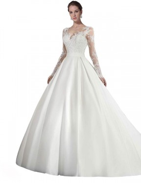 Cheap White Cathedral Train Long Satin & Lace Stephanie Wedding Dress Montreal